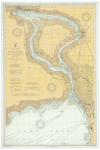 1910 Map | Buffalo Harbor And Niagara River To The Falls including the Outer Harbor | NOAA Historical Nautical Chart