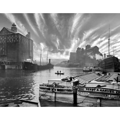 Watson Silhouette, Grain Silo's on the Buffalo River c1900
