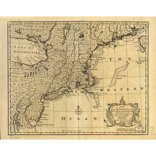 A new and accurate map of New Jersey, Pensilvania, New York and New England