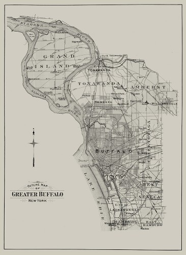 Buffalo 1915 Vol 3 Suburban | Outline Map of Greater Buffalo | Historic Cartography