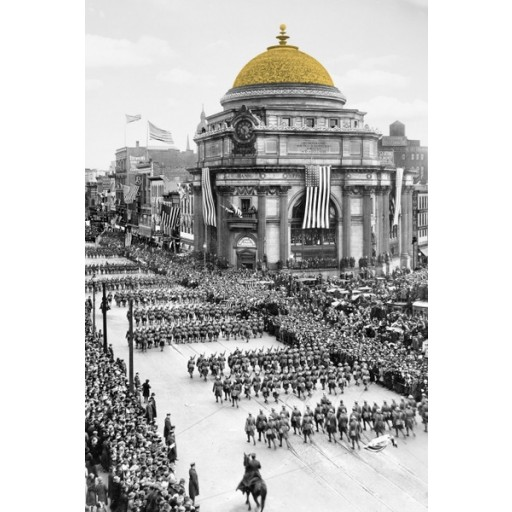 Bird's-eye view of soldiers parading in Buffalo, N.Y., Buffalo Savings Bank's Gold Dome colorized - Vertical