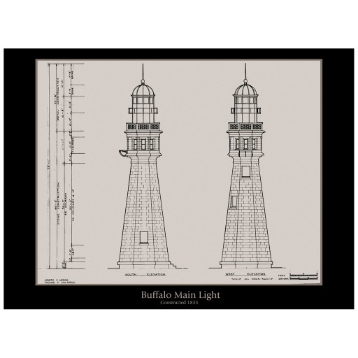 The Buffalo Main Light Elevation - Architectural Drawing