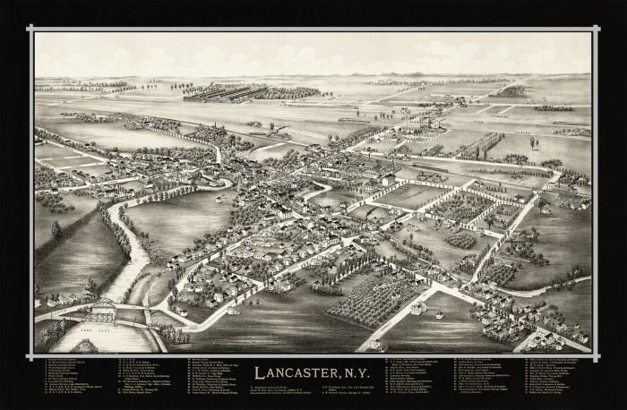 Map of Lancaster, N.Y.  1892 (Black)