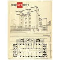 Frank Lloyd Wright - Architectural drawing of the Larkin Administration Building